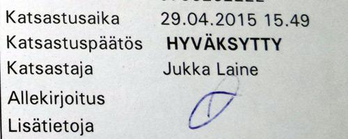 Hyväksytty katsastus 2015-04-29